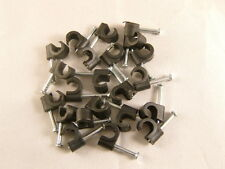 100 Pack of Black TV Aerial, Sky & Satellite 7mm Round Cable Clips, RG6, WF100