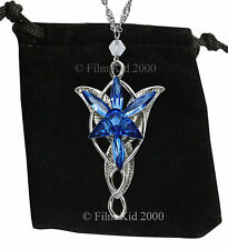 Evenstar Necklace Silver BLUE Crystals LOTR Lord Of The Rings Hobbit Arwen