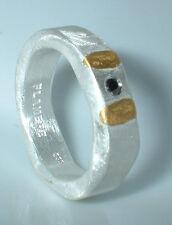 Ring, Feinsilber 999, schwarzer Diamant 0,05 ct, Goldapplikation, Flamere Design