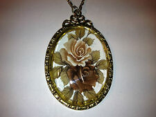 Vintage Handpainted Glass gold plated  necklace
