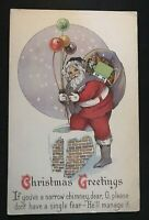 Santa Claus~In Chimney with Toys~Balloon~Antique Christmas Postcard--Unused-s422