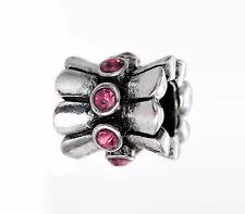 Rhinestone Flower Charms Silver Spacer Bead For European Charm Bracelets
