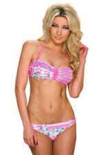 Abbigliamento rosa a fantasia righe in poliestere per il mare e la piscina da donna