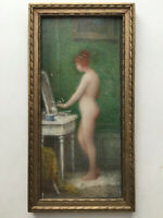 19th Century Antique Oil French impressionist painting Nude woman at her toilet