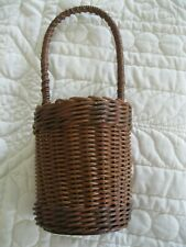 SMALL ANTIQUE HANGING BASKET WITH WOODEN BOTTOM RED AND GREEN COLORATION