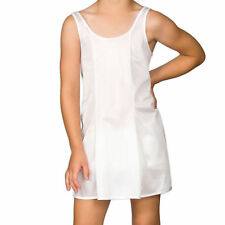 Girls White Sleek Nylon Full-Slip, (4-16)
