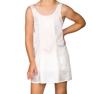 Girls White Sleek Nylon Full-Slip, (4-16)