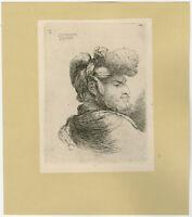 Antique Print-GENRE-STUDY-HEAD-Castiglione-ca. 1630