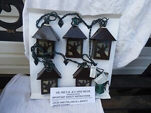RV PATIO METAL AND CAPIZ DEER LIGHTS--FIVE LANTERN STRING
