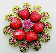 Impressive Golden 3D Heart FLOWER Red FILIGREE Rhinestone Retro Vintage Brooch