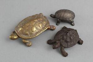 3 Antique Miniature Cast Iron & Bronze Turtle Tortoise Sculpture Figural Boxes
