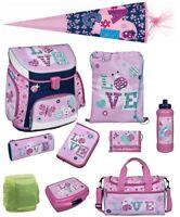 Mädchen Schulranzen Set 10tlg Campus Fit Sporttasche Schultüte Ladybug LOVE rosa