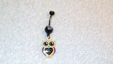 Yellow Purple Owl Bird Belly Button Navel Ring Body Jewelry Piercing 14g Sale