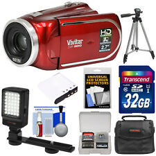Vivitar DVR 960HD 1080p HD 12x Optical Zoom Video Camera Camcorder Kit Red