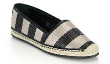 100%authentic Burberry Hodgeson Striped Raffia Espadrille flats  sz 37 /7 US