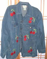 Women's THE QUACKER FACTORY SZ M DENIM JACKET Embroidered Beaded-CHERRIES kitsch