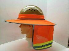 Orange Hard Hat Sun Shade Visor Full Brim Mesh Neck Hi Vis Reflective Stripe
