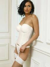 PANACHE IVORY SATIN SPECIAL OCCASION BASQUE BRIDAL  SIZE 32D  STYLE 5217