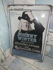 """Johnny Winter In Concert Reproduction Tin sign 8""""X12"""" Man-Cave Vintage Blues"""