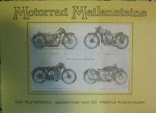Motorrad Meilensteine - 4 Kunstblätter Krackowizer Puch NSU BMW R47 Motosacoche