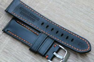 Handmade Watch Strap Genuine Smooth Calf Leather Padded Contrast Stitch 24mm