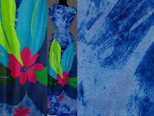 (10,80 €/m) 150 cm Rapport STOFF CHIFFON Blume Blumenmuster kornblumenblau
