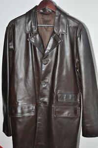 England Vintage  Brown Leather Coat Jacket Mens Size L