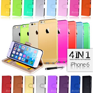 Wallet & Gel 4in1 Accessory Bundle Kit Case Cover For Apple iPhone 6 4.7""