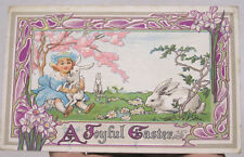 Vintage Easter Postcard Art Nouveau Border Girl with White Bunnies Daffodils