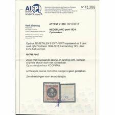 Nederland P66F KOP-staande opdruk  VFU/gebr CV  450 € Certificaat Vleeming