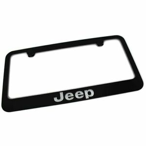 Jeep License Plate Frame Number Tag Rotary Engraved Black Powder Coated Zinc
