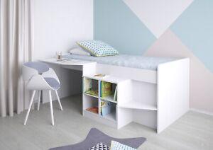 Polini Kids Kinderbett Hochbett mit Schreibtisch und Regal Weiß 80x190cm