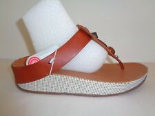 80e0bb7cf24a53 FitFlop Size 10 JEWELEY TOE-POST Dark Tan Leather Sandals New Womens Shoes