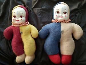 Pair of Vintage Clown Dolls Jester Light Bulb eyes Old
