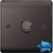 BG Nexus NBN81P Polished/Black Nickel Single Dimmer Switch 1 Gang 2 Way