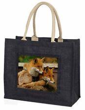 Cute Red Fox Cubs Large Black Shopping Bag Christmas Present Idea     , AF-11BLB