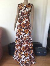 XL VTG 60s 70s Hawaiian Tiki Maxi Dress Gown Brown Floral Lua Aloha Muu