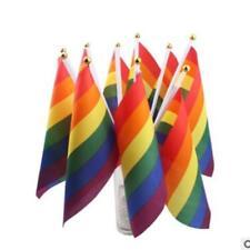 Rainbow Hand Waving Flag Gay Pride Lesbian Peace LGBT Banner Festival LC