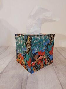 Tissue Box Cover Made W/ Oriental Peacock Black Jade Fabric Cube Square