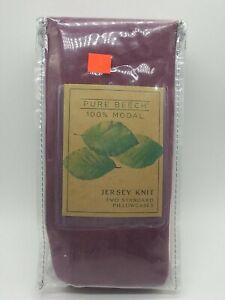 Pure Beech Jersey Knit Modal Standard Pillowcases Burgundy (Set of 2)