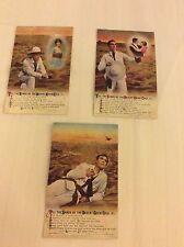 Till The Sands Of The Desert Grow Cold Set of 3 Bamforth Edwardian Era Postcards