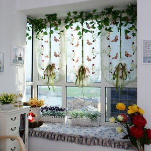 Pastoral Butterfly Tie Up Tulle Balcony Window Short Shades Roman Curtains