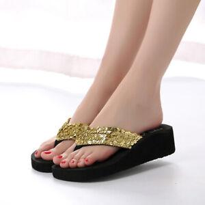 Summer Women Sequin Wedge Platform Thong Flip Flops Sandals Beach Slippers Shoes