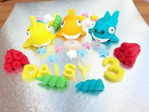 Fondant Handmade Orange Blue Yellow Baby Sharks Personalised Edible Cake Toppers