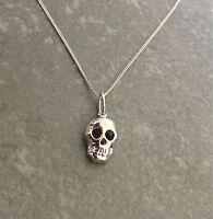 925 Sterling Silver Skull Pendant necklace chain UK Seller