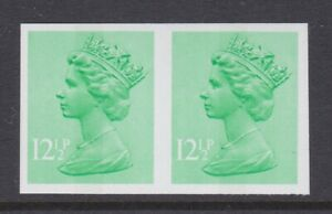 GB STAMPS 12 1/2p MACHIN IMPERF PAIR VERY RARE ERROR FROM COLLECTION