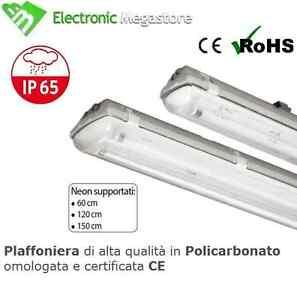 PLAFONIERA STAGNA NEON IP65 LED PER ESTERNO 60 120 150 CM SINGOLA E DOPPIA