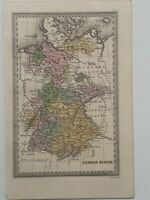 1834 GERMANY HAND COLOURED ORIGINAL ANTIQUE MAP BY CARY & LEA 186 YEARS OLD