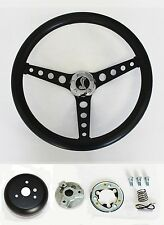 "70-78 Mustang Cobra II Black on Black Steering Wheel 14 1/2"" Cobra Snake Center"