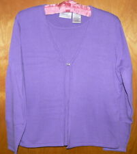 Purple 1- piece Cardigan Sweater Set size Large Tank Top Kathie Lee Collection